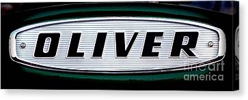 Retro Oliver Tractor Nameplate  Canvas Print by Olivier Le Queinec