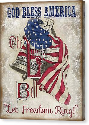 Canvas Print featuring the digital art Retro Patriotic-a by Jean Plout