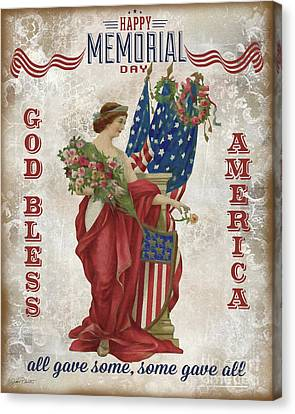 Canvas Print featuring the digital art Retro Patriotic-b by Jean Plout