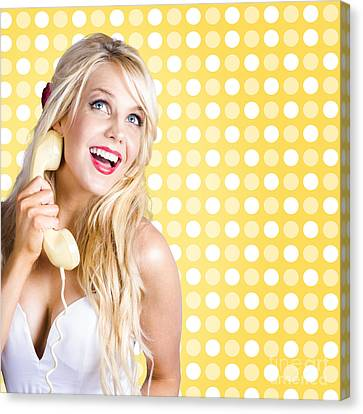 Retro Phone Beauty With Glamour Hair And Makeup Canvas Print by Jorgo Photography - Wall Art Gallery