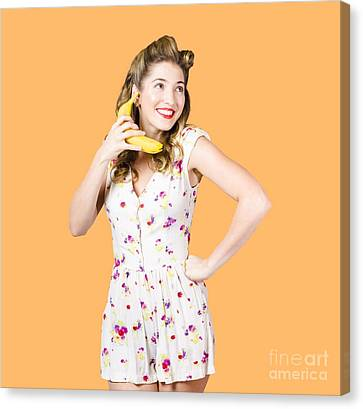 Retro Pin Up Girl Chatting On Banana Telephone Canvas Print