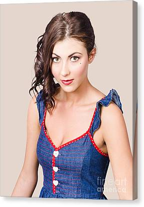 Retro Pin-up Girl In Blue Denim Dress Canvas Print by Jorgo Photography - Wall Art Gallery