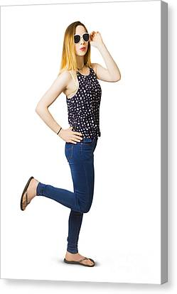 Retro Pin-up Model Kicking Up A Full Length Pose Canvas Print