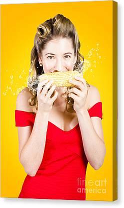 Retro Pinup Girl Eating Gmo Free Corn Cob Canvas Print by Jorgo Photography - Wall Art Gallery