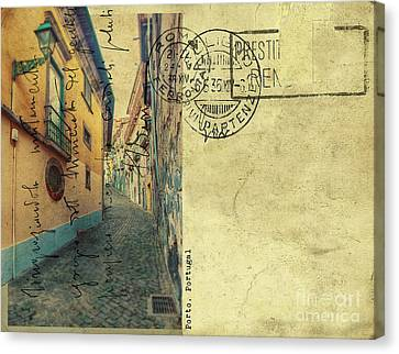 Canvas Print featuring the digital art retro postcard of Porto, Portugal  by Ariadna De Raadt