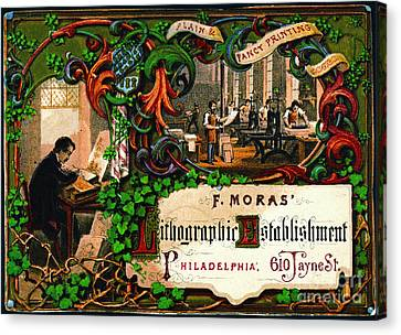 Canvas Print featuring the photograph Retro Printing Ad 1867 by Padre Art