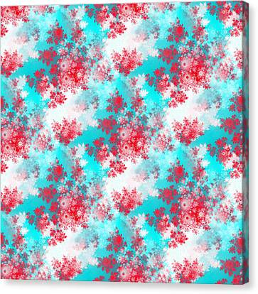 Rose Patterned Curtains Canvas Print - Retro Red White Blue Rosebuds Pattern by Lenka Rottova