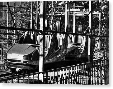 Retro Roller Coaster Bw Canvas Print by Mel Steinhauer