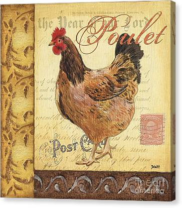 Retro Rooster 1 Canvas Print by Debbie DeWitt