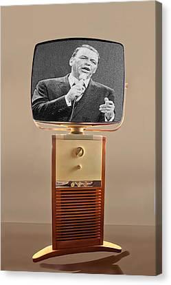 Retro Sinatra On Tv Canvas Print by Matthew Bamberg