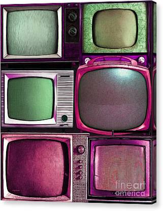 Retro Television Marathon 20150928vertical V2 M68 Canvas Print by Wingsdomain Art and Photography