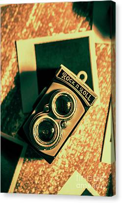Retro Toy Camera On Photo Background Canvas Print by Jorgo Photography - Wall Art Gallery