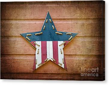 Patriotism Canvas Print - Retro Usa Star by Jane Rix