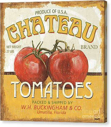 Chateau Canvas Print - Retro Veggie Labels 4 by Debbie DeWitt