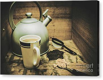 Teapot Canvas Print - Retro Vintage Toned Tea Still Life In Crate by Jorgo Photography - Wall Art Gallery