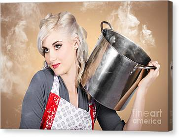 Retro Women And Homemakers. Pin Up Cooking Canvas Print by Jorgo Photography - Wall Art Gallery