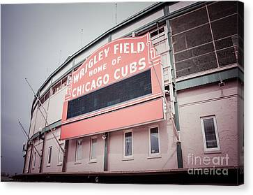 Ballpark Canvas Print - Retro Wrigley Field Sign by Paul Velgos