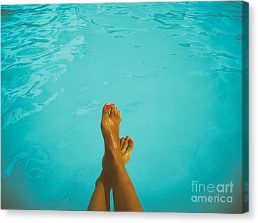 Water Swimming Pool Canvas Print - Retro Young Girl Relaxing Her Feet At Swimming Pool by Radu Bercan