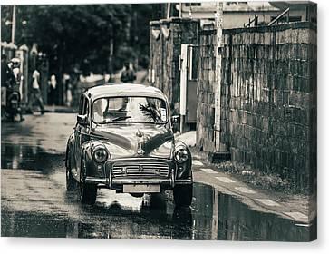 Retromobile. Morris Minor. Vintage Monochrome Canvas Print by Jenny Rainbow