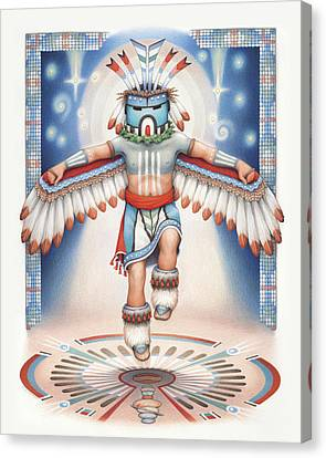 Hopi Canvas Print - Return Of The Blue Star Kachina by Amy S Turner