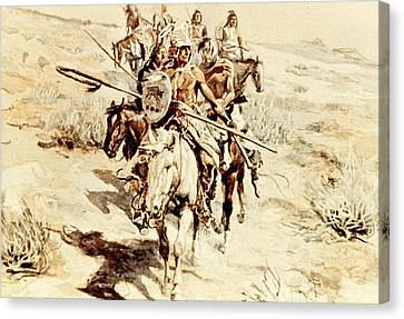 Return Of The Warriors Canvas Print by Charles Marion Russell