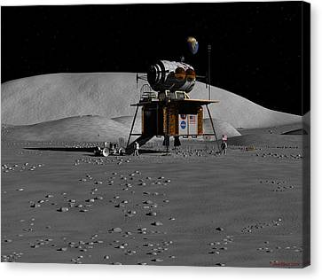 Canvas Print featuring the digital art Return To The Moon by David Robinson