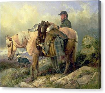 Returning From The Hill Canvas Print by Richard Ansdell