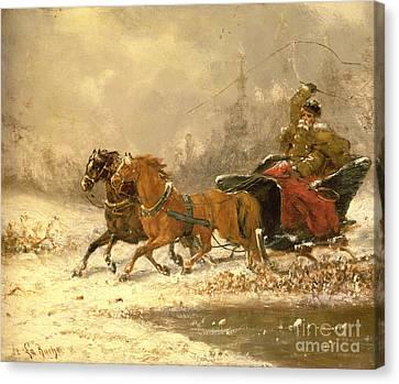 Returning Home In Winter Canvas Print by Charles Ferdinand De La Roche