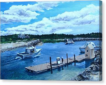 Northside Marina Canvas Print - Returning To Sesuit Harbor by Jack Skinner