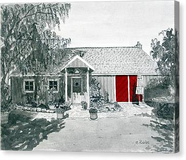 Retzlaff Winery With Red Door No. 2 Canvas Print by Mike Robles