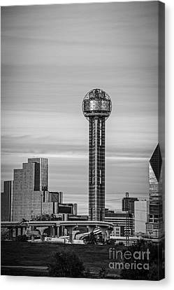 Reunion Tower In Black And White Canvas Print