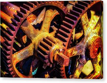 Component Canvas Print - Reusting Gears In Train Yard by Garry Gay