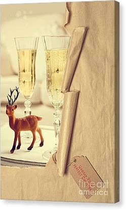 Revealing Christmas Champagne Canvas Print by Amanda Elwell