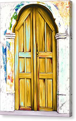 The Doors Of Santorini - Golden, Prints From Original Oil Painting Canvas Print by Mary Grden Fine Art Oil Painter Baywood Gallery