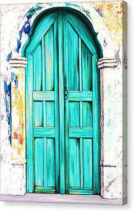 The Doors Of Santorini- Aqua - Prints From Original Oil Painting Canvas Print by Mary Grden's Baywood Gallery