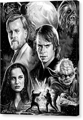 Revenge Of The Sith Bw Canvas Print by Andrew Read