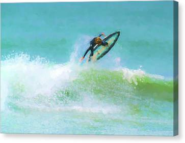 Reverse Art Canvas Print - Reverse Up Surfing Watercolor by Scott Campbell