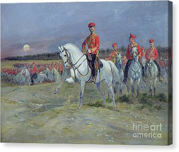 Reviewing The Troops Canvas Print by Jean Baptiste Edouard Detaille