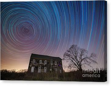 Revolutionary War House Star Trails Canvas Print by Michael Ver Sprill
