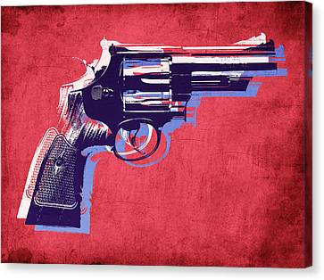 Revolver On Red Canvas Print by Michael Tompsett