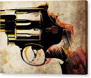 Revolver Trigger Canvas Print by Michael Tompsett