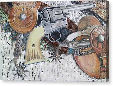 Canvas Print featuring the drawing Revolver With Spurs by Scott Kingery