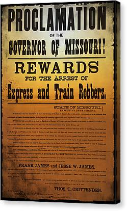 Reward For Frank And Jesse James Canvas Print by Bill Cannon