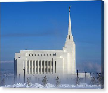 Canvas Print featuring the photograph Rexburg Temple Rises Above The Mist by DeeLon Merritt