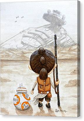 Movie Stars Canvas Print - Rey With Bb8 by Al  Molina
