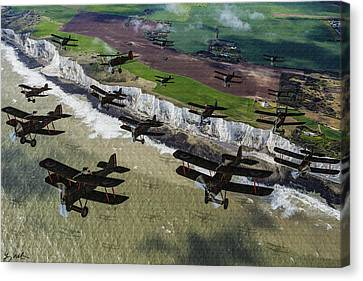 Rfc Se5 Deploys Tp Frane 1917 - Oil Canvas Print by Tommy Anderson