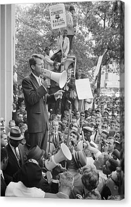 Rfk Speaking At Core Rally Canvas Print by War Is Hell Store