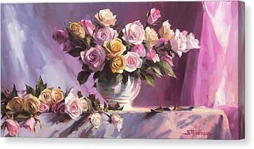 Indoor Still Life Canvas Print - Rhapsody Of Roses by Steve Henderson