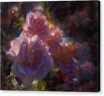 Canvas Print featuring the painting Rhapsody Roses - Flowers In The Garden Painting by Karen Whitworth