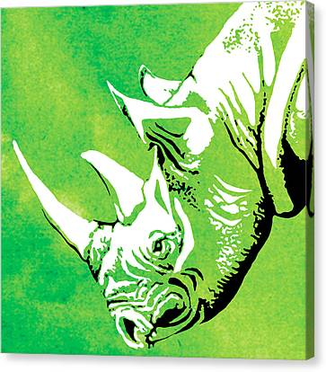 Portrait Canvas Print - Rhino Animal Decorative Green Poster 1 - By Diana Van by Diana Van